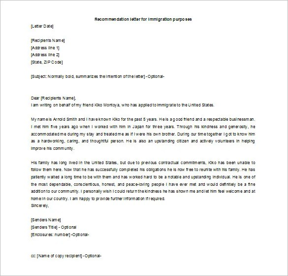 Recommendation Letter For A Friend