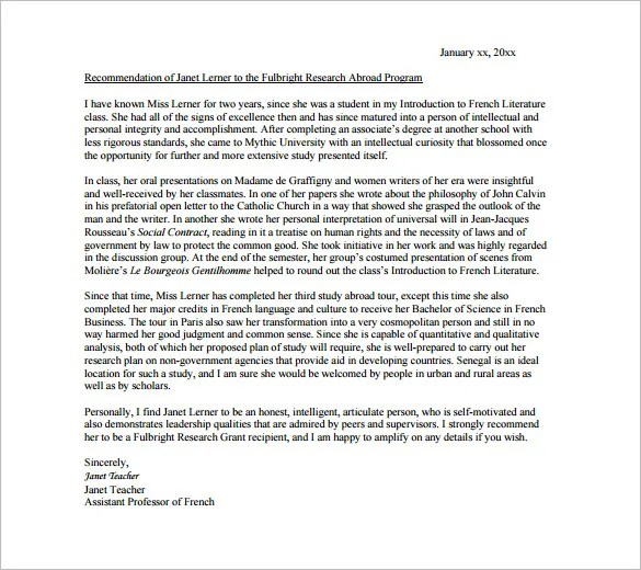 Recommendation Letter From Teacher To Student For Scholarship