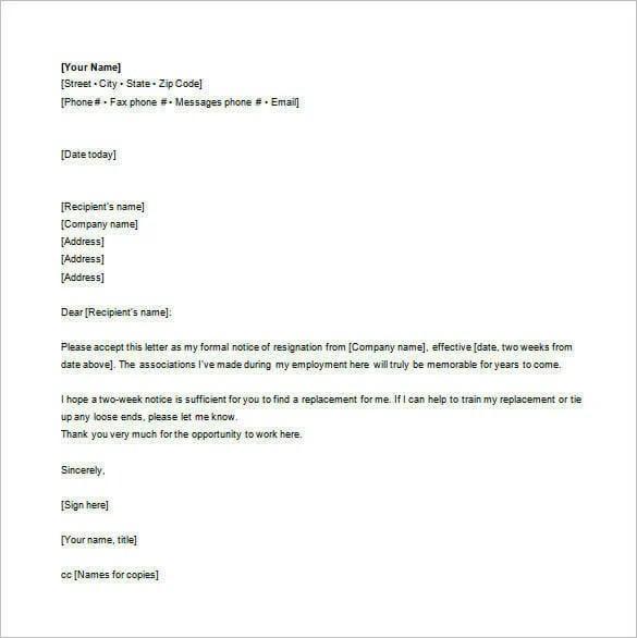 sample resignation letter cc hr cover letter templates