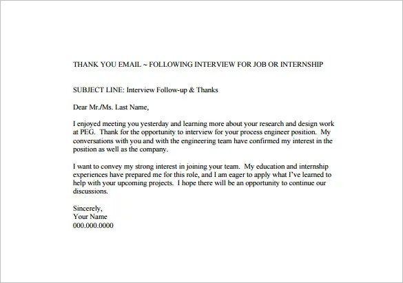 Thank You Letter After Internal Interview Email Sample