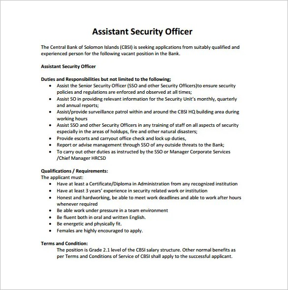 Airport Security Guard Job Description