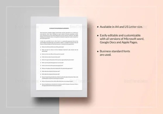Agreement Template   27  Free Word  PDF Documents Download    Free     checklist partnership agreement template
