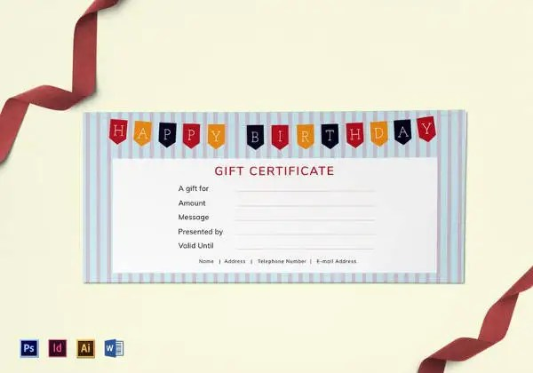 Birthday Gift Certificate Templates   16  Free Word  PDF  PSD     Easy to Edit Happy Birthday Gift Certificate Template