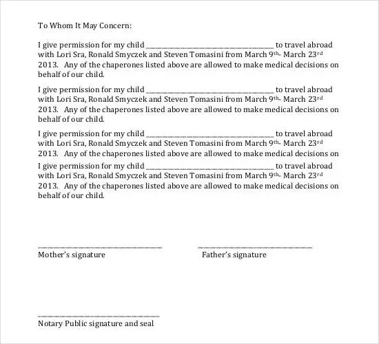 Notarized Letter Template For Child Travel - FREE DOWNLOAD