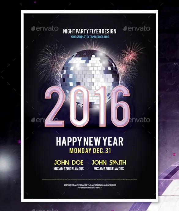 Poster New Year Templates  Merry Christmas And Happy New Year