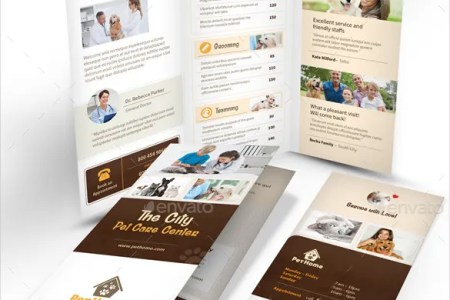14  Daycare Brochure Templates     Free PSD  EPS  Illustrator  AI  PDF     Pet Care Trifold Brochure 3 Fold Template InDesign