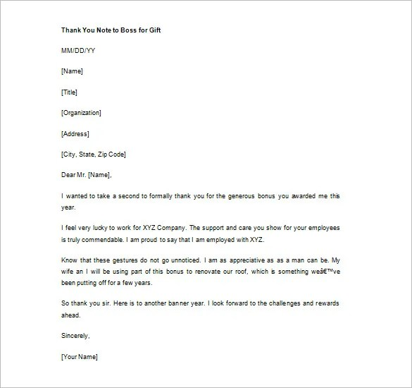 Sample Thank You Letter To Boss For Support | Docoments Ojazlink