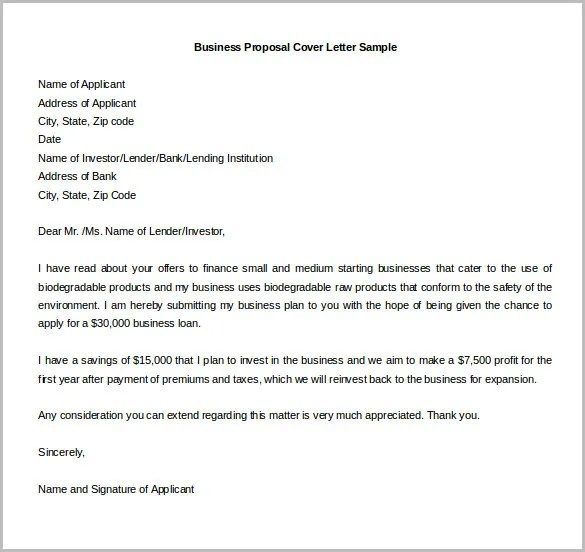 Sample Business Plan Cover Letters. How To Write A Business Proposal Cover  Letter ...
