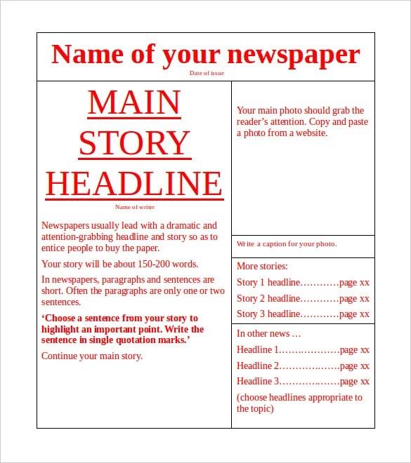 Downloadable Newspaper Templates