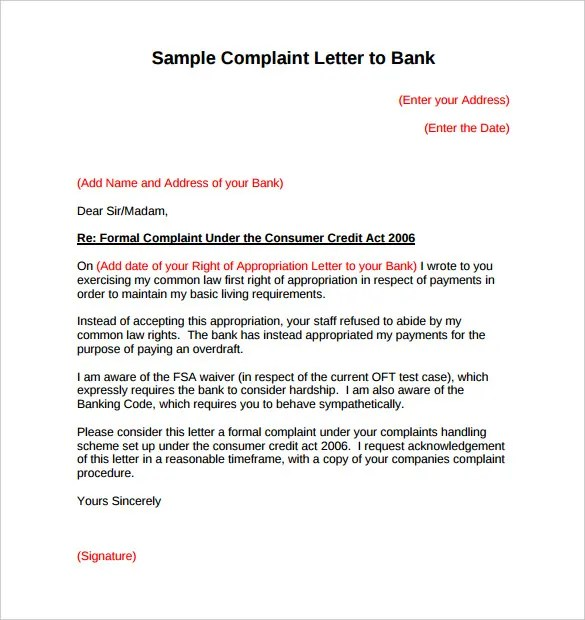 Template Of Complaint Letter To Airline Sample Complaint Letter – Complaint Letter Template Word