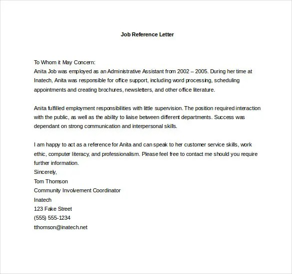 Write job reference letter – Job Reference Template
