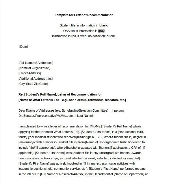 Letter Recommendation Pt Student