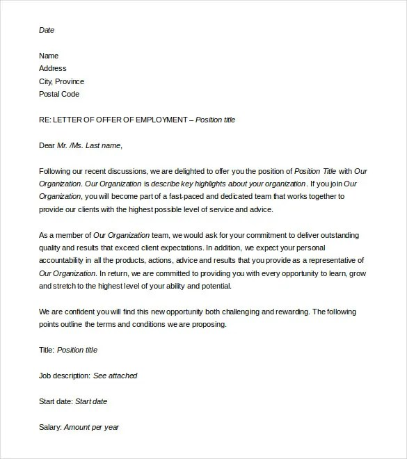 Offer Letter Template 15 Free Word