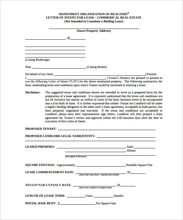 Doc575709 Letter of Intent Real Estate Intent to Purchase – Letter of Intent for Sponsorship