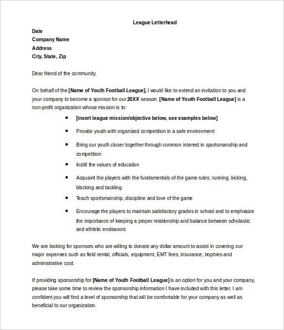 Ideas Of Sample Donation Request Letter For Sports Team