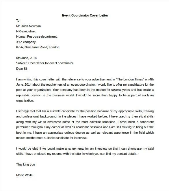 Event Coordinator Cover Letter | Docoments Ojazlink