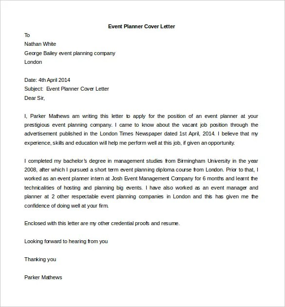 Cover letter for event planner no experience – Event Planner Cover Letter