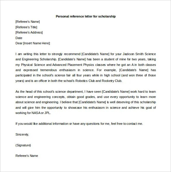 sample letter of recommendation for scholarship examples in sample recommendation letter for scholarship from teacher sample