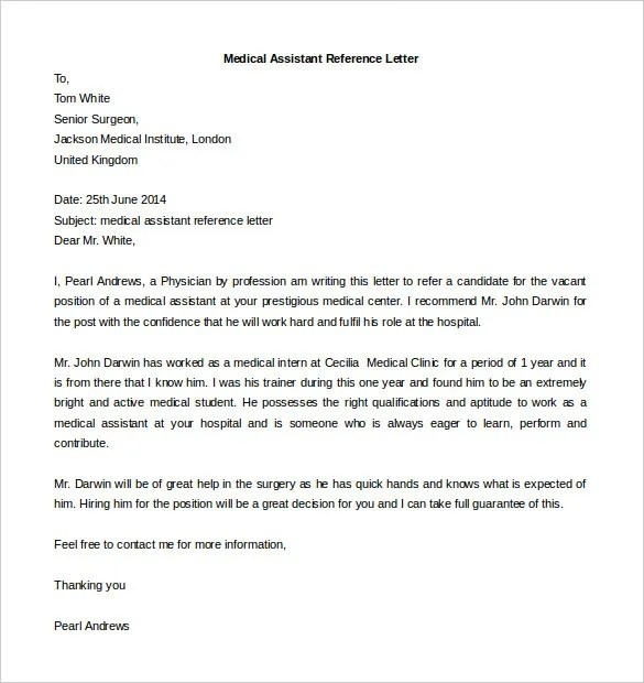 Medical assistant reference letter from employer lettercard reference letter for medical employee medical assistant letter of recommendation expocarfo Images