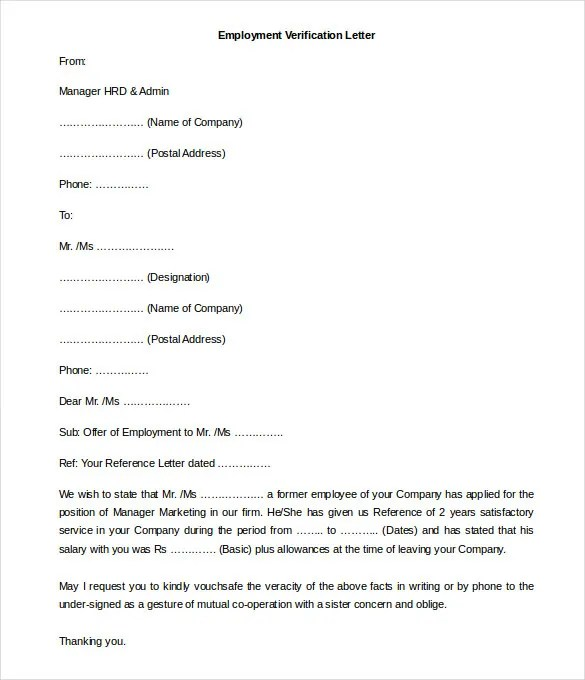 Free Employment Letter Template 28 Word Pdf Doents