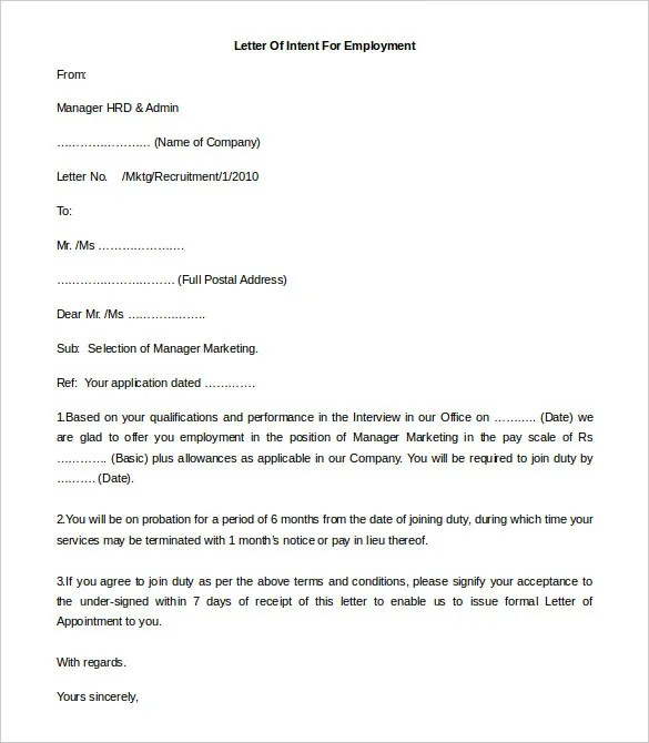 Letter Intent Format Template