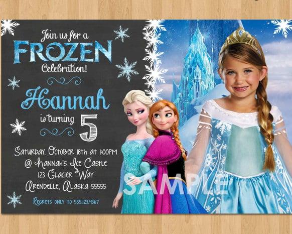 12 frozen birthday invitation psd