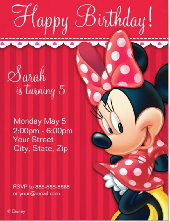 17 minnie mouse birthday invitation