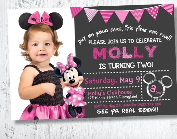 1st birthday minnie mouse invitation