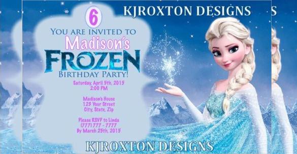 Multi Color Disney Personalized Frozen Birthday Invitation