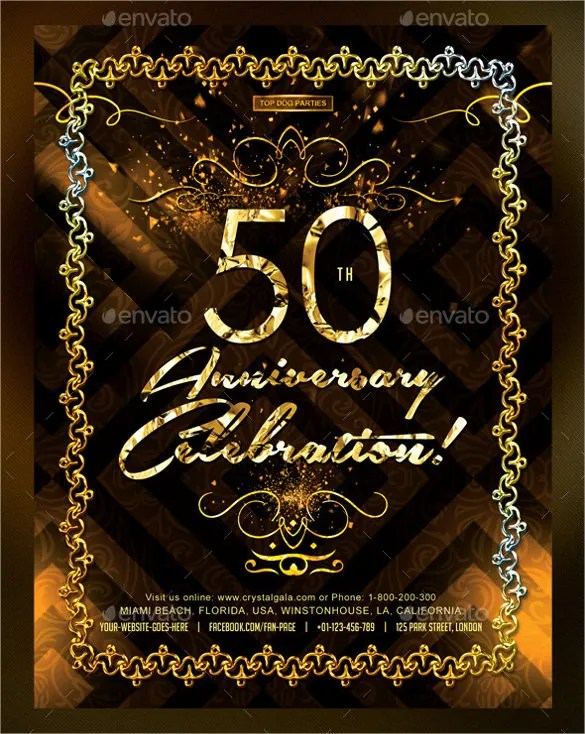 Golden Coloured 50th Birthday Invitation Template