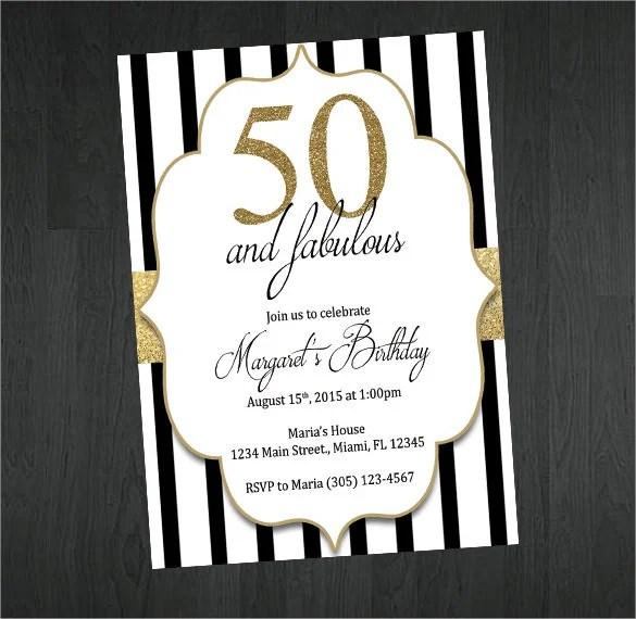 Gold Black And White 50th Birthday Invitation