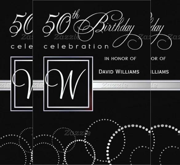 Black Themed 50th Birthday Invitation Card Design