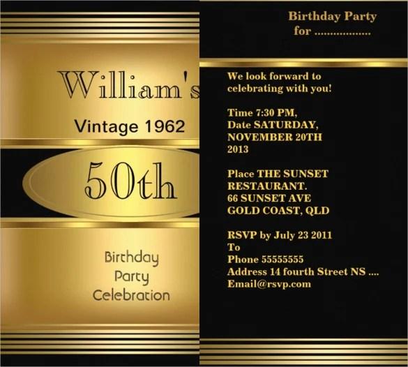 Vintage 50th Birthday Invitation For Men