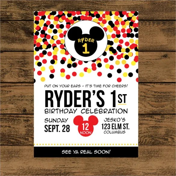 20 mickey mouse birthday invitation