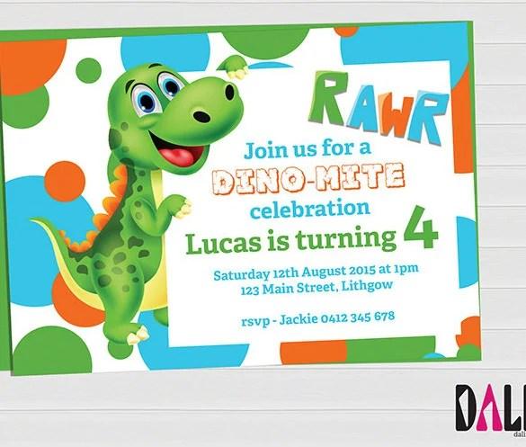 14 dinosaur birthday invitations psd