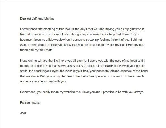 Sample Romantic Letters 14 Free Documents In WordFree Sample – Sample Romantic Love Letter