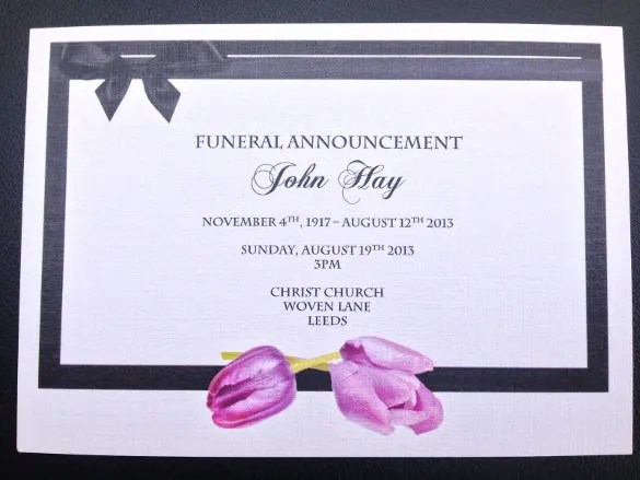 Sample Invitation Cards For Memorial Service – Free Funeral Announcement Template