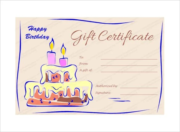 20 Birthday Gift Certificate Templates Free Sample