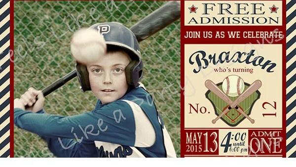 baseball birthday invitation templates