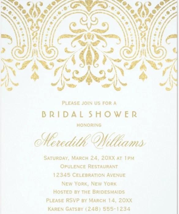 Bridal Shower Invitations Gold Vine Glamour
