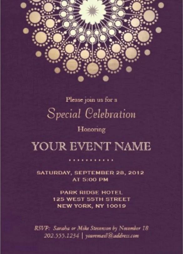 Elegant Gold Circle Motif Purple Linen Look Formal Paper Invitation Card