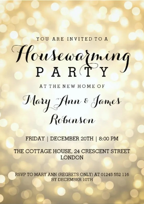 Housewarming Party Glitter Invitation Card