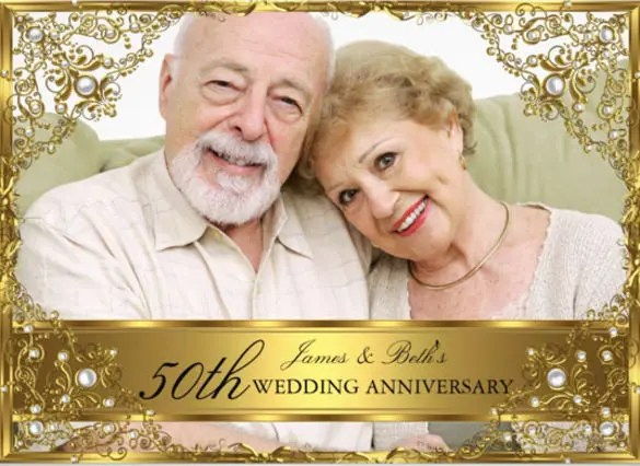 Gold Pearl 50th Wedding Anniversary Invitation Card