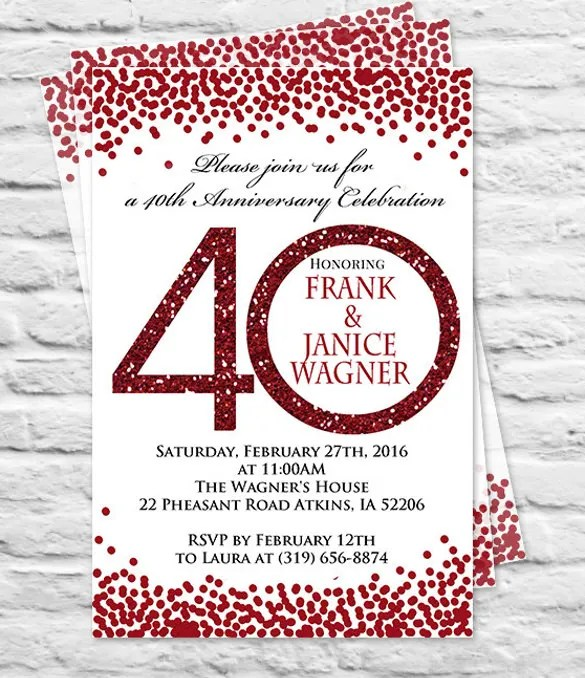 Medium Size Of Templates Handmade 40th Wedding Anniversary Invitations As Well