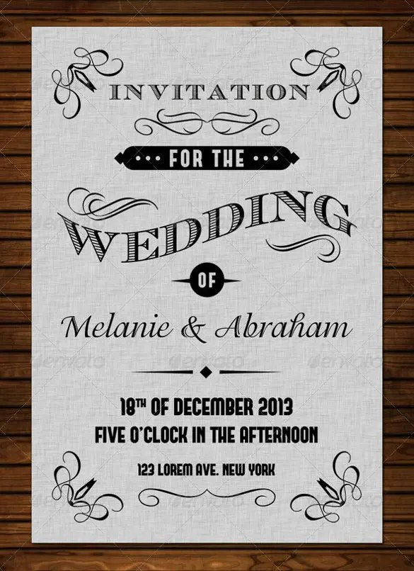 Old Vine Wedding Invitation Psd Format Template