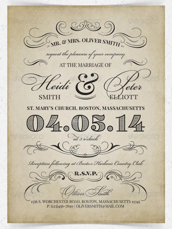 24 Vintage Wedding Invitation Templates Psd Ai Free