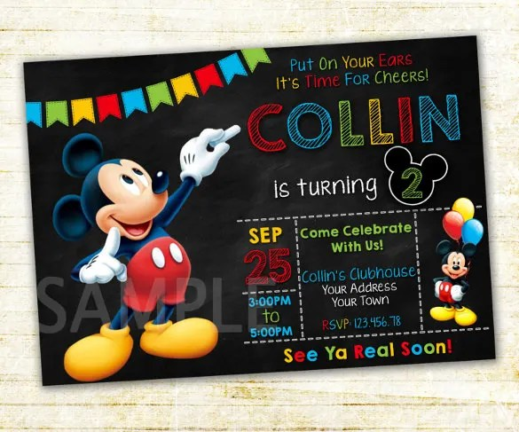 15 mickey mouse birthday invitation