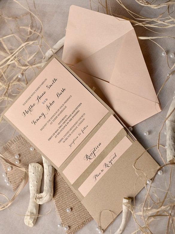 Peach Beach Wedding Invitation Template