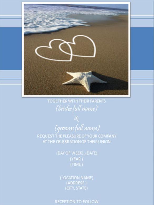 Hearts Beach Wedding Invitation Ppt Format Template Free