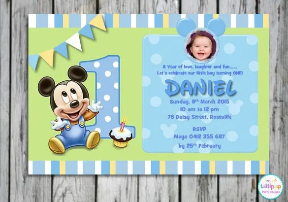 1st Birthday Invitation Card Presenting Small Micjey Mouse